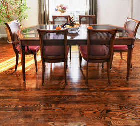delmhorst dining room with wood floor