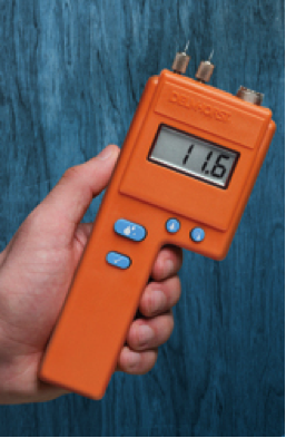 Pin-type moisture meters are best for measuring wood surfaces due to their uninsulated pin tips.