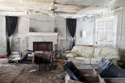 damaged living room