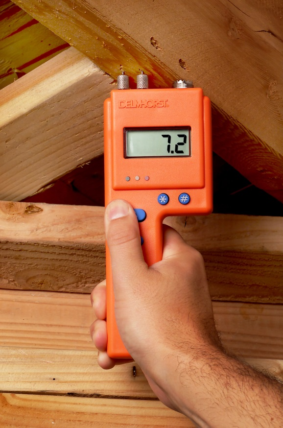 Pin-type moisture meters are handy for measuring moisture in a variety of building materials.