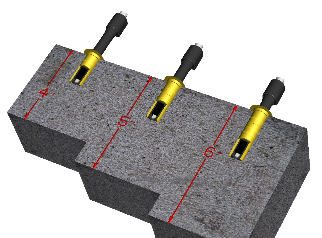 In situ probes, shown here, can penetrate concrete at several depths.