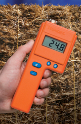 The FX-2000 hay moisture meter can be used with a variety of probes to measure moisture in the windrow, in the baler, or in the bale.