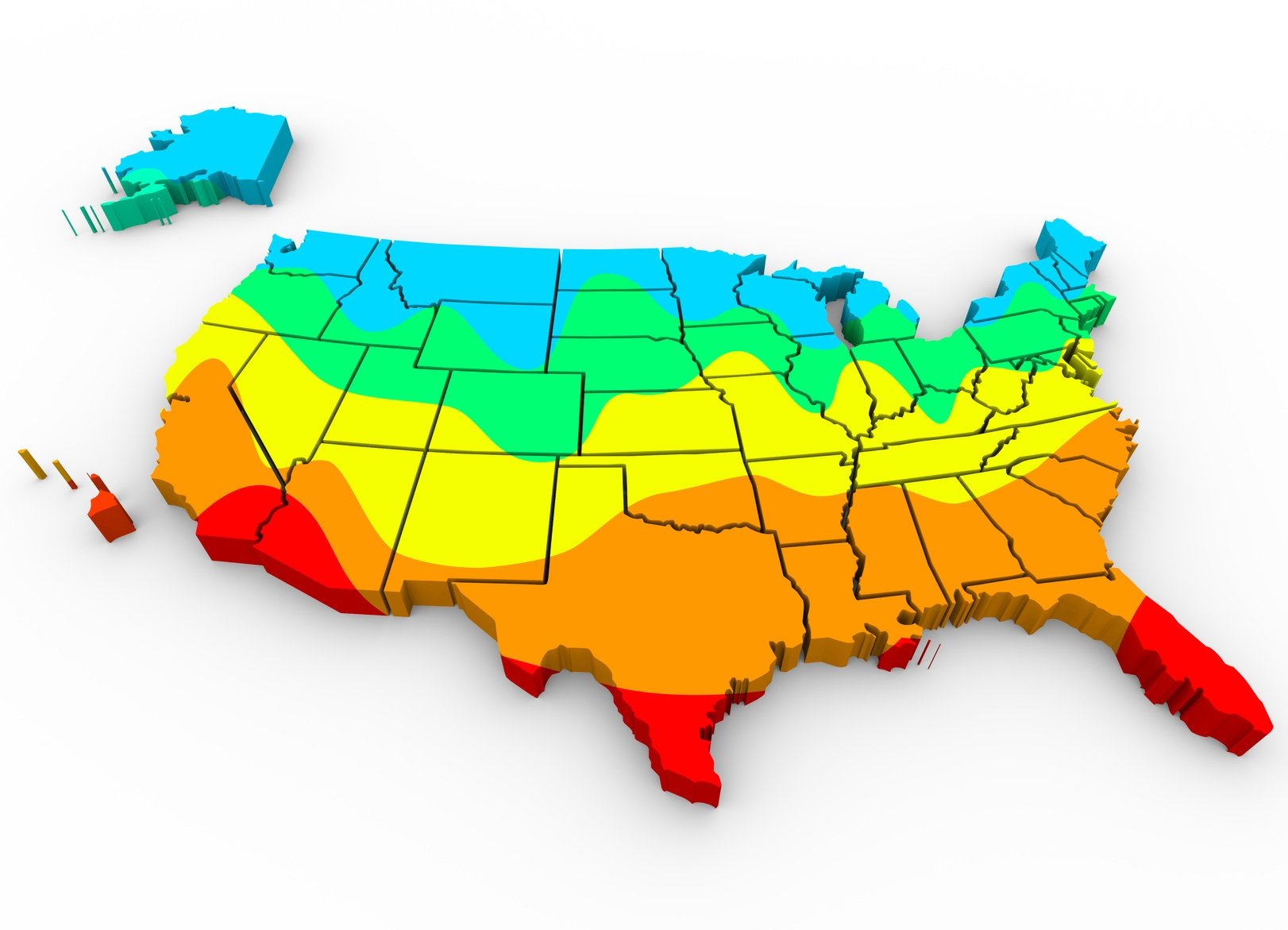 A temperature map of the USA. Temperature often affects what the ideal moisture content of wood flooring should be.