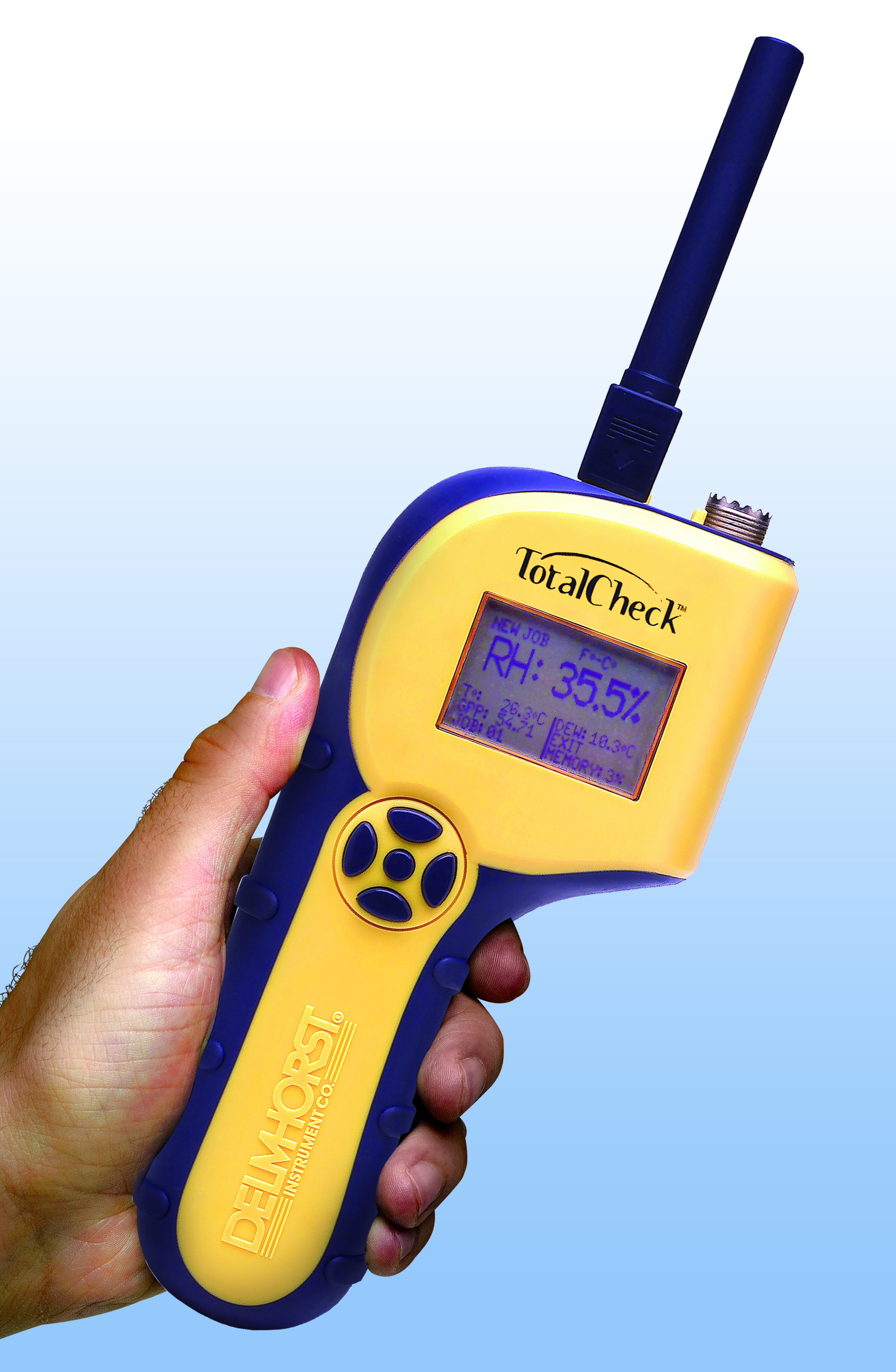 The TotalCheck 3-in-1 meter combines the functions of a pin moisture meter, pinless meter, and a thermo-hygrometer in one tool.